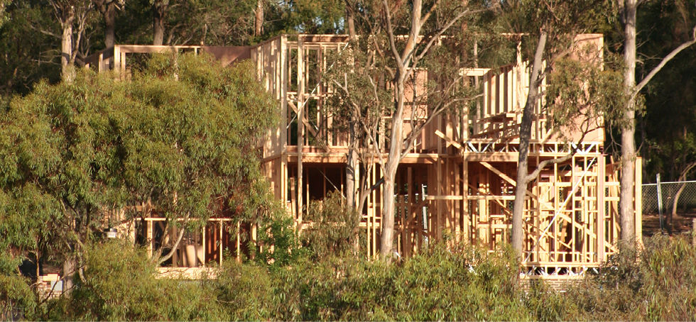 The timber frame of a new two-storey house is surrounded by bushland.