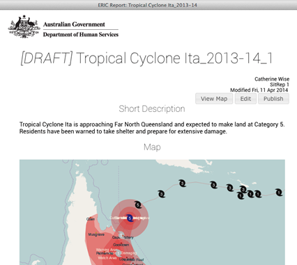 A screenshot from the ERIC website showing a template for a tropical cyclone report, including title, description and a map of the cyclone's path.