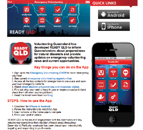 A screenshot of the Ready QLD app download web page.