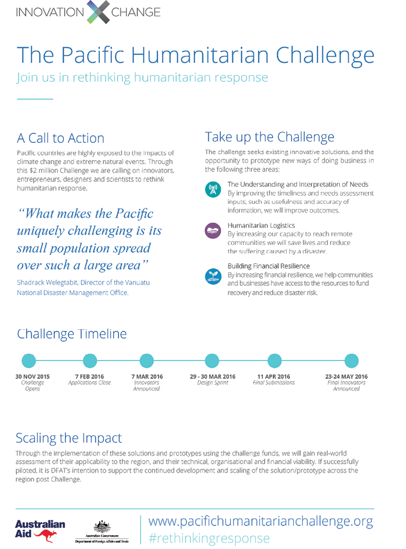 Advertisement for the Pacific Humanitarian Challenge
