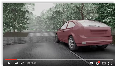 Screenshot from a video shows a computer generated image of a car about to drive through floodwater.