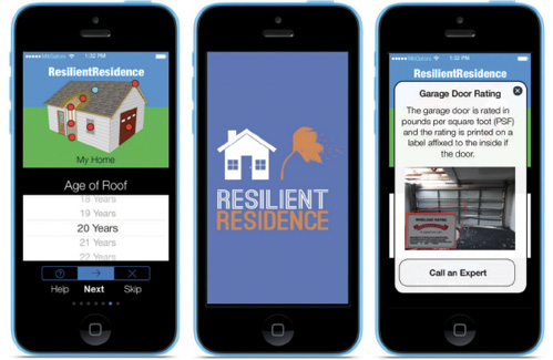 Images of smart phones showing different screenshots of the ResilientResidence app.