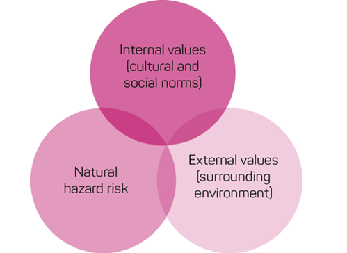 Values and risks that are related to decision making include natural hazard risks, internal values (cultural and social norms) and external values (surrounding environment).