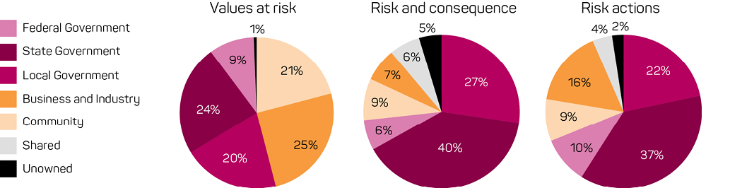 For values at risk, decision-making ownership is split fairly evenly among state and local government, business and industry, and the community, with 20–25% each. The federal government is a smaller contributor at 9%. Only 1% is not owned.