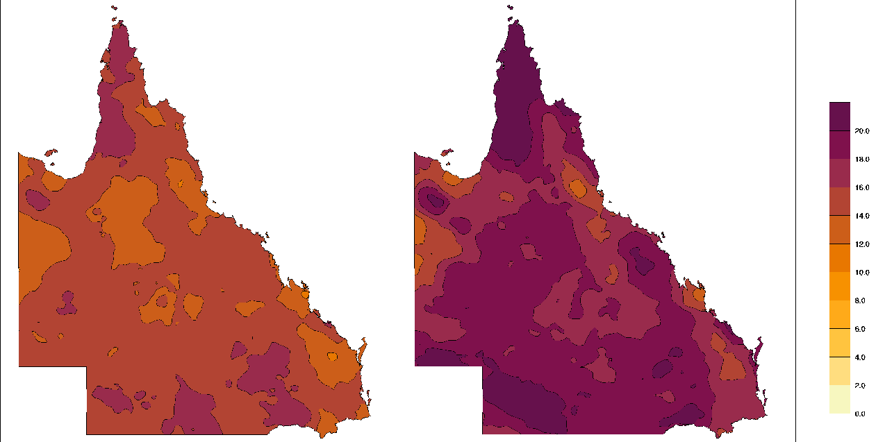 Two maps of Queensland showing the average annual number of three-day periods with positive EHF. The left-hand map shows that from 1958 to 2011, the number of days were generally on the middle end of the scale. The right-hand map shows that from 1986 to 2015, the number of days were generally on the higher end of the scale.