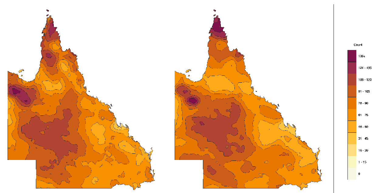 Two maps of Queensland showing the number of heatwaves forecast at lead time 1 and observed in the warm seasons of 2013–14 to 2015–16. The maps show that the number of forecasted and observed heatwaves were similar.