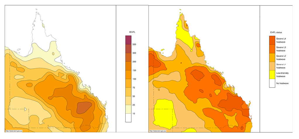 Two maps of Queensland showing the integrated positive EHF and maximum heatwave severity level for late December 2013 to early January 2014. The left-hand map shows that the integrated positive EHF was on the lower to middle end of the scale. The right-hand map shows that the maximum heatwave security level was on the middle to upper end of the scale. Both maps show higher results for coastal areas.