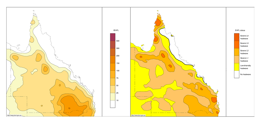 Two maps of Queensland showing the integrated positive EHF and maximum heatwave severity level for November 2014. The left-hand map shows that the integrated positive EHF was on the lower end of the scale. The right-hand map shows that the maximum heatwave security level was on the lower to middle end of the scale. Both maps show higher results for coastal areas.
