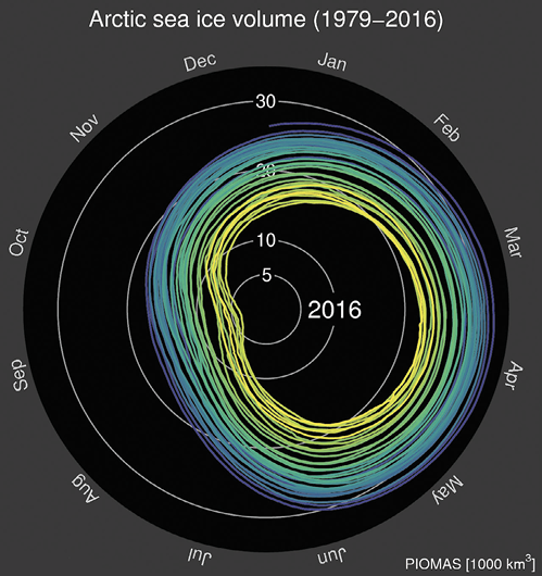 A 2D depiction of the change of Arctic sea ice volume from 1979 to 2016 during the different months of the year, which has decreased over time. The image is of the view looking down at the North Pole. The sea ice range is depicted by different coloured circles.