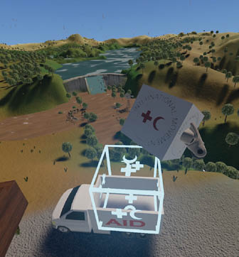 A virtual reality image of an aid truck arriving at a flood site.