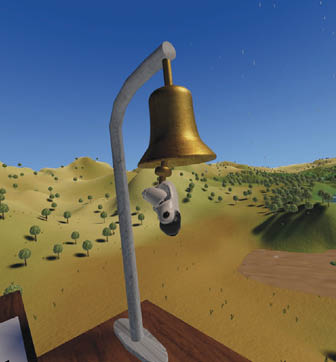 A virtual reality image of a bell ringing.