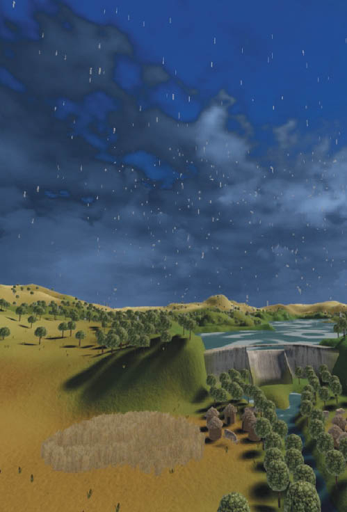 A virtual reality image of a landscape, depicting grassland, bushland along a stream, a dam and the sky.