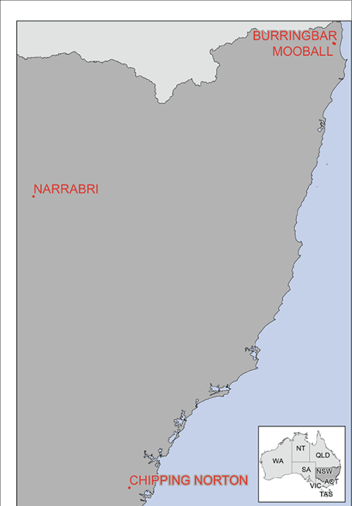 Figure 1: A close-up map of New South Wales showing the location of Chipping Norton (near the coast) and Narrabri (more inland).