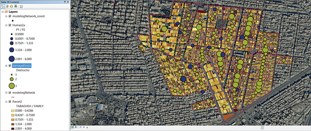 Figure 2: A computer simulation of an area of Tehran, Iran, which is highlighted in a different colour than the surrounding neighborhoods. Different levels of destruction are depicted by different sized dots on the map.