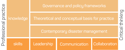 Figure 2: Matrix showing the domains of the Generic Emergency and Disaster Management Standards. The domains are knowledge (governance and policy frameworks, theoretical and conceptual basis for practice, contemporary disaster management) and skills (leadership, communication and collaboration). Spanning these domains are professional practice and critical thinking.