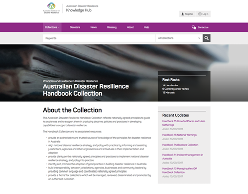 Screenshot of the Knowledge Hub's Handbook Collection landing page.