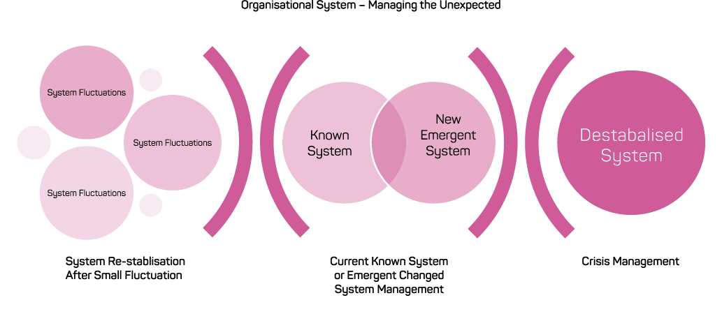 A diagram showing the relationship between system re-stablisation after small fluctuation, current known system or emergent changed system management, and crisis management.