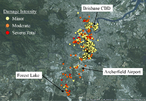 Satellite image showing Brisbane CBD, Archerfield and Forest lake, and the damage intensity from the thunderstorm. Moderate damage is seen around Forest Lake, but most of the minor to severe damage is seen north of Archerfield and south of Brisbane CBD.