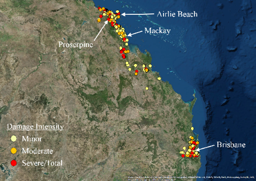 Satellite image showing storm damage intensity on Queensland's east coast, from Brisbane to Airlie Beach. Most of the minor, moderate and severe damage occurred around Brisbane, and Proserpine, Mackay and Airlie Beach. Pockets of damage were seen inland south of Mackay.