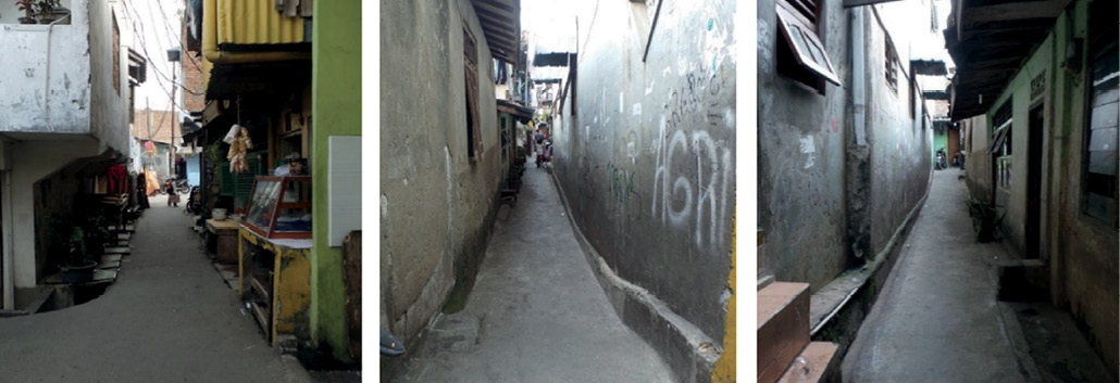 A series of images showing very narrow laneways in between buildings and homes. It does not look like a car or emergency vehicle would fit down the lanes.