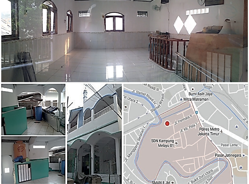 A series of images showing the inside of the shelter. It is clean, and looks raised so that people staying in it are not affected by floodwaters. A map shows the location of the shelter in Kampung Melayu.