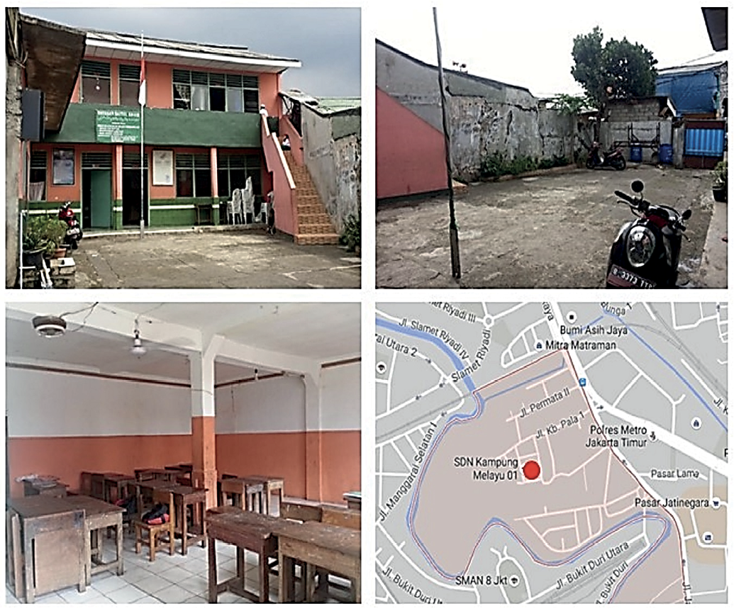 A series of images showing the school used as a temporary shelter. Again, the school is raised so people are not affected by floodwaters. The surrounding yard is clean. A map shows the location of the shelter in Kampung Melayu.