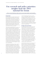 Thumbnail of Fire research and policy priorities: insights f...