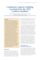 Thumbnail of Community capacity building: Learning from the ...